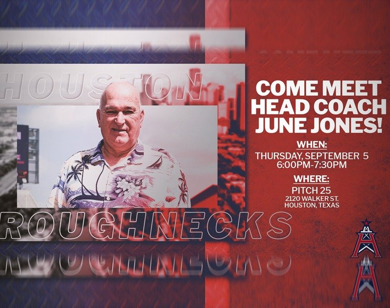 Houston Roughnecks Head Coach June Jones to hold Q&A September 5