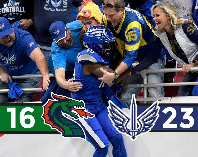 St. Louis BattleHawks Survive Seattle Dragons 23-16