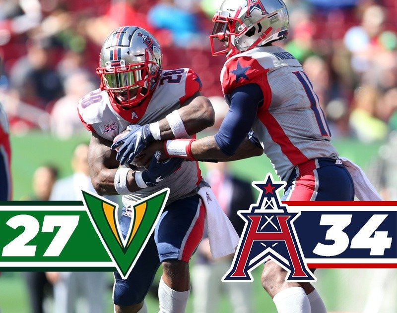 Houston Roughnecks Deny Tampa Bay Vipers First Win — 34-27