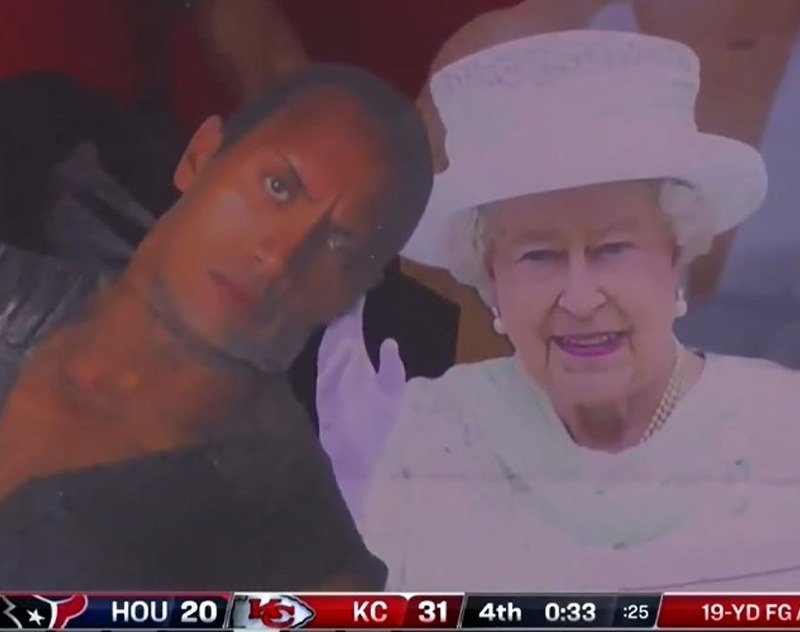 The Rock and Queen Elizabeth Go Viral During NFL Kickoff