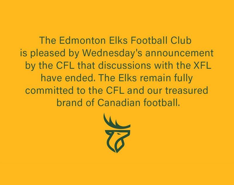 Edmonton Elks Release Statement on CFL/XFL Discussions